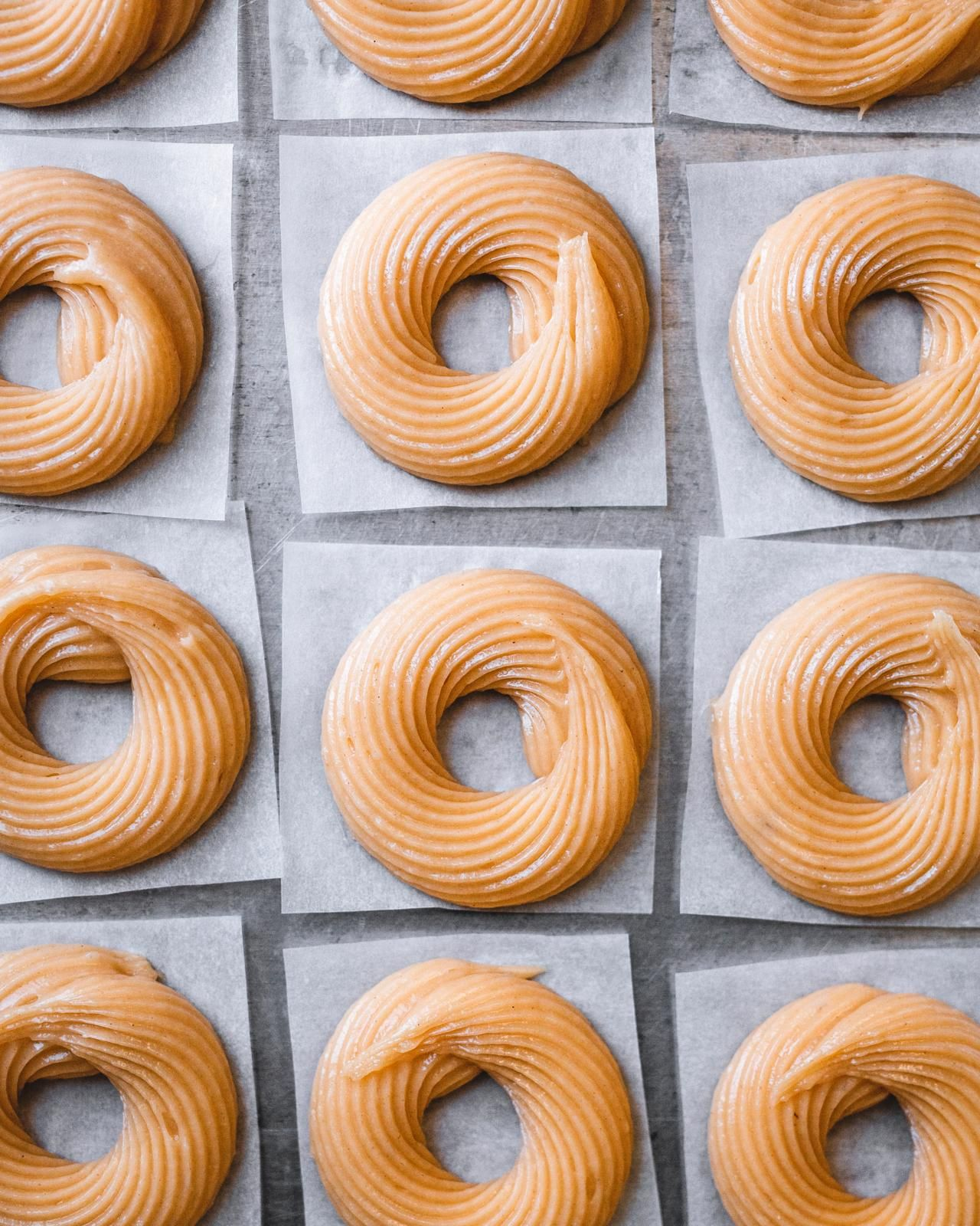 Crullers piped