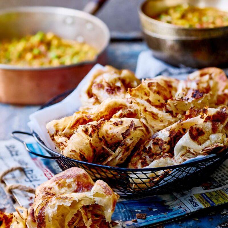 Rețetă ușoară Roti Canai cu legume Curry Rețetă