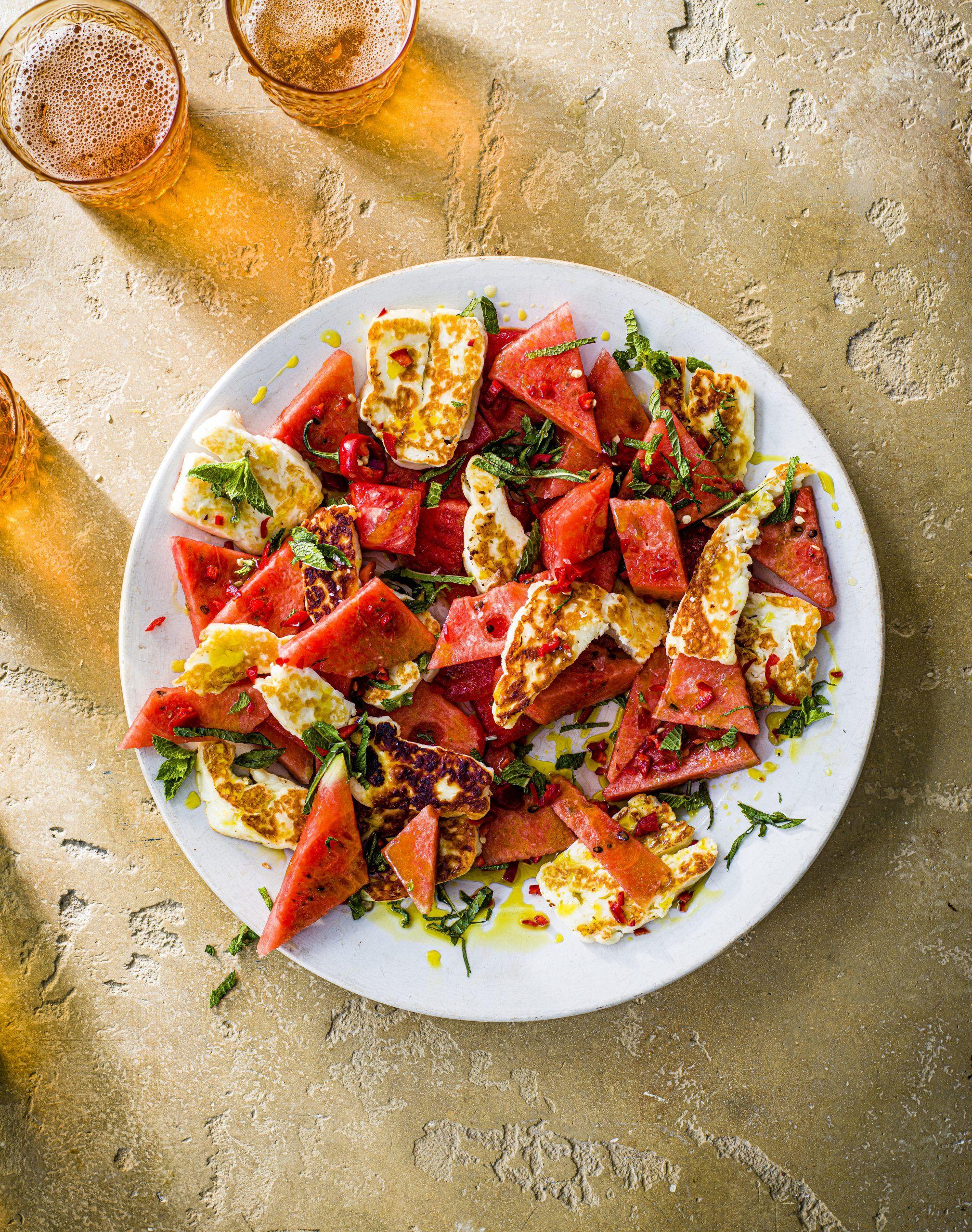 Salată Halloumi și pepene verde