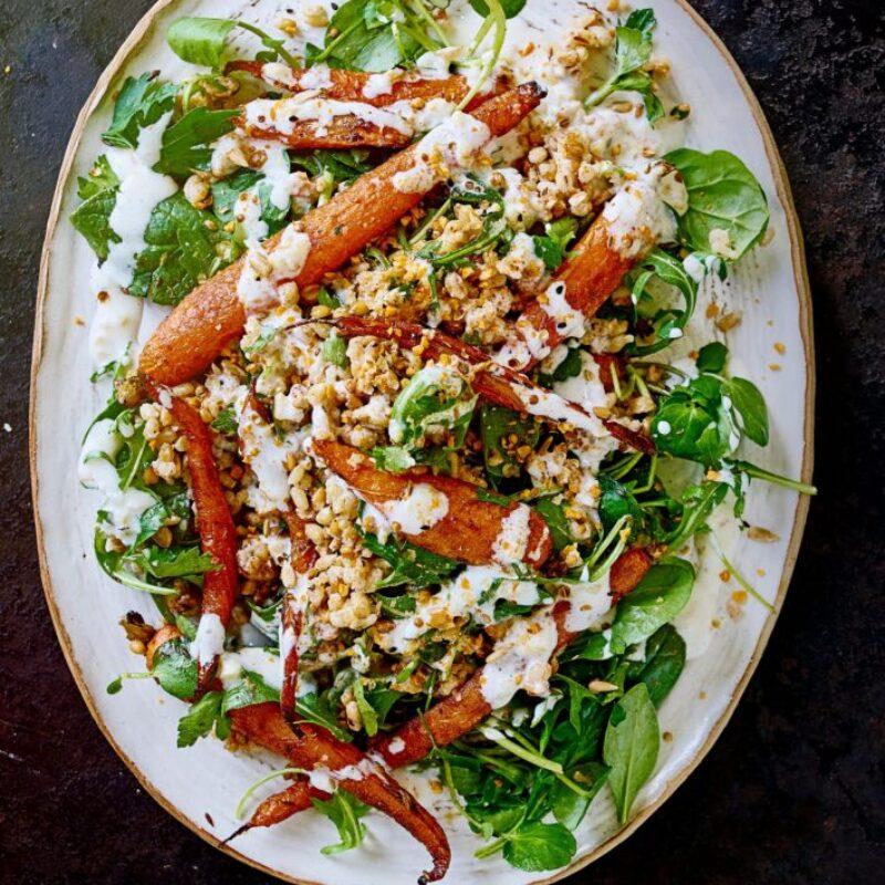 Salată de morcovi prăjită cu vopsea de vrajă, duka și lămâie conservată