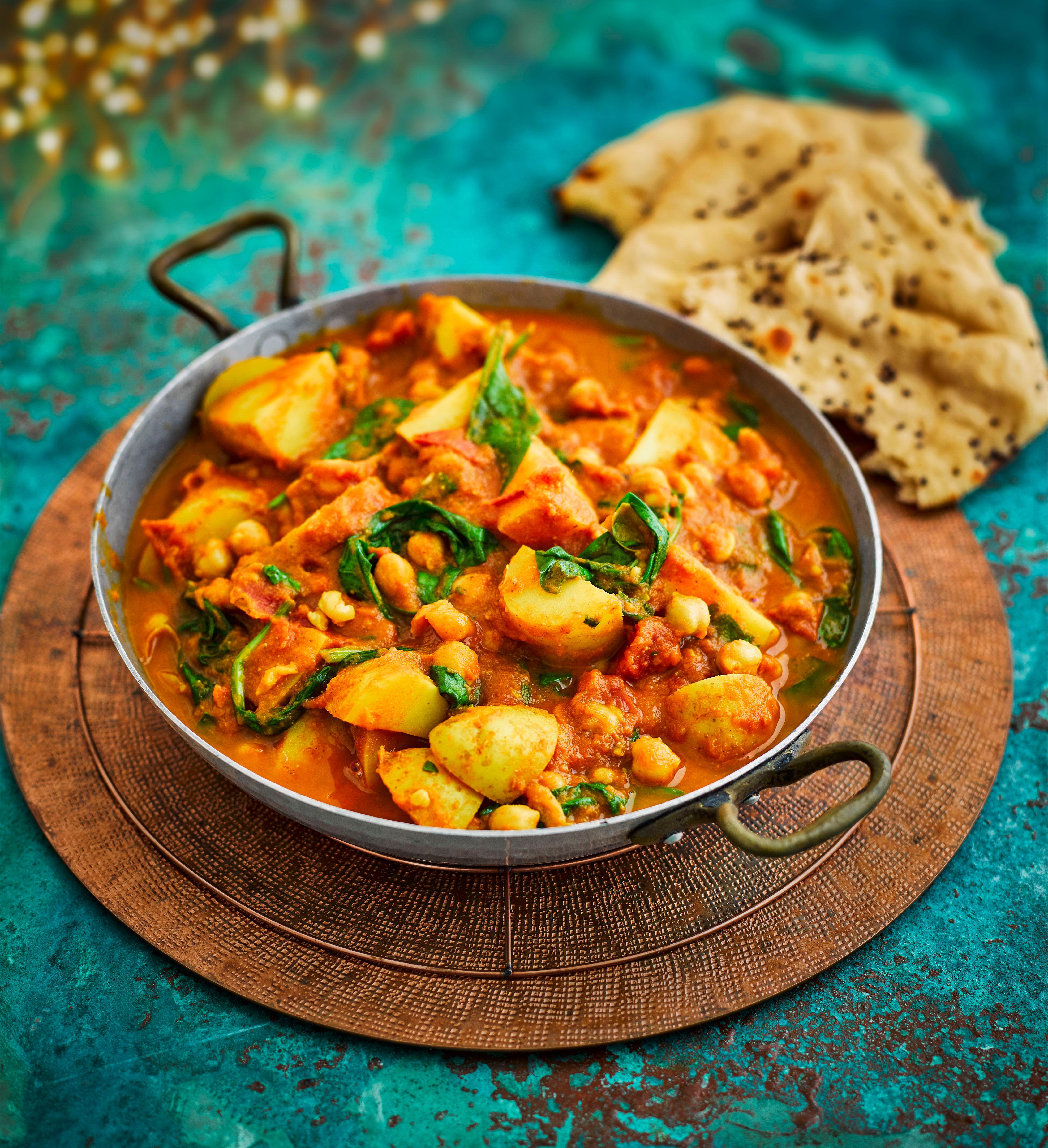 Rețetă Curry de cartofi de naut cu spanac