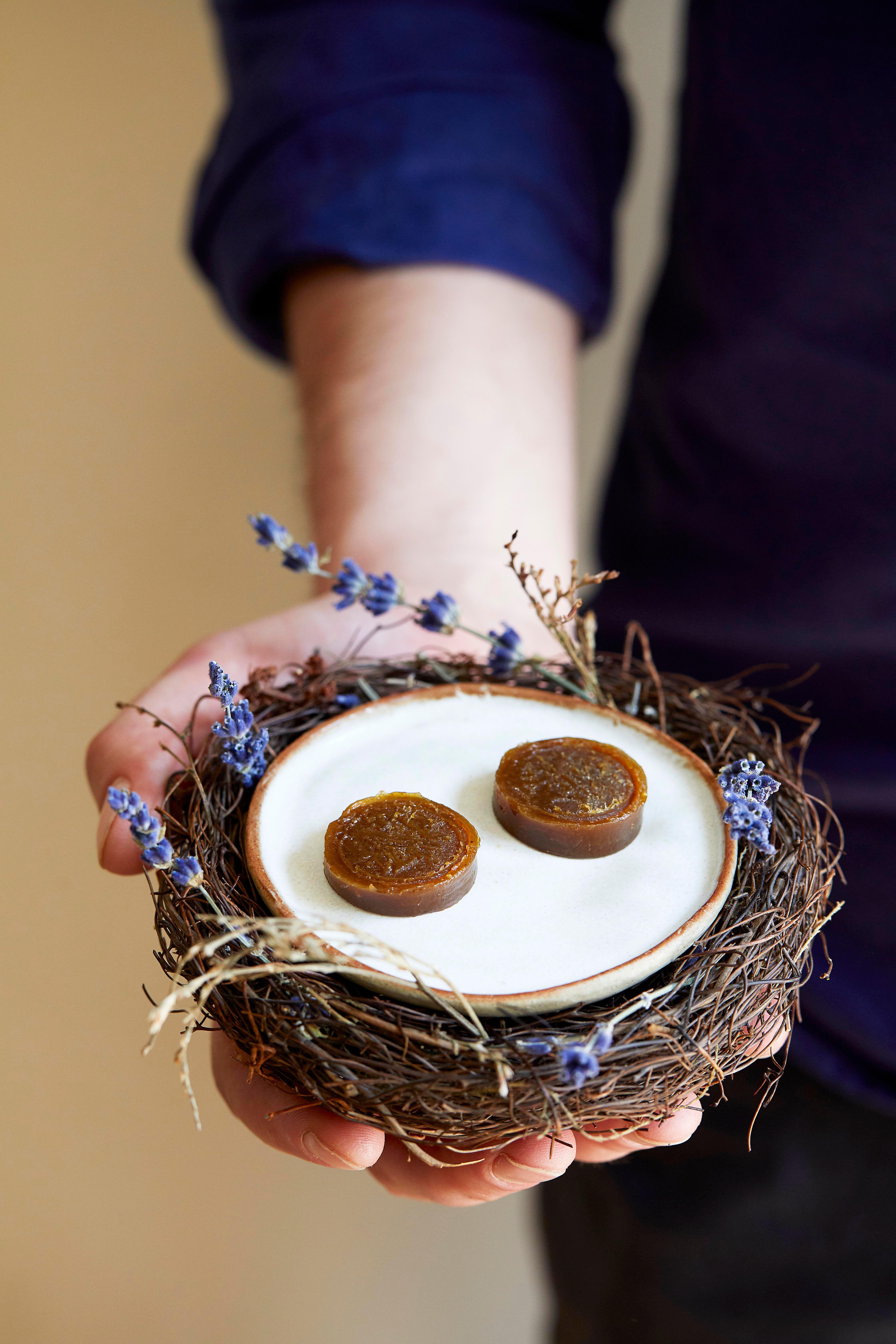 Rețetă de casă toffee cu fructe de ienupăr.  Două cafele servite pe o farfurie mini-alb-alb într-un cuib format din bețe lemnoase și lavandă, așezat pe mâna unei persoane