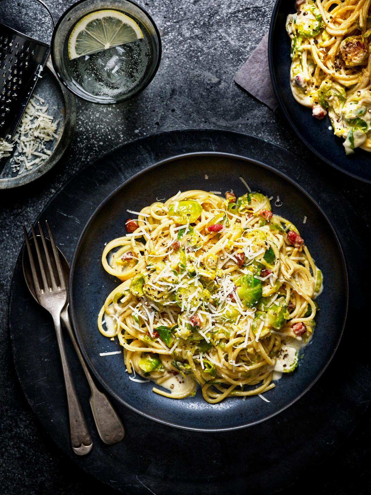 Sprouts Pancetta Creamy Spaghetti